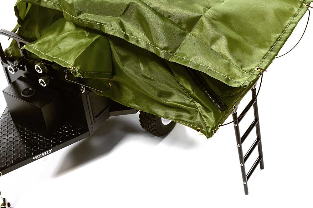 Alloy Realistic Model Camping Trailer w/Roof Top Tent for 1/10 RC 390x195x175mm