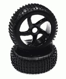 Mounted 1/8 Buggy 5 Spoke-S 17mm Wheel+Pattern C Tire Set (2) (O.D.=110mm)