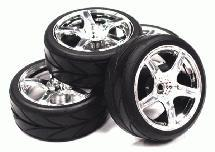 5 Spoke Complete Wheel & Tire Set (4) for 1/10 Touring Car