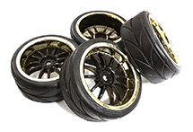 Dual 6 Spoke Complete Wheel & Tire Set (4) for 1/10 Touring Car