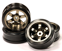 Billet Machined Alloy 6 Spoke Wheel +3 Offset + Drift Tire (4) Set (O.D.=62mm)