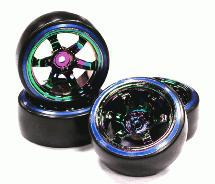 Rainbow Color 6 Spoke Wheel w/ Outer Ring + Drift Tire (4) Set (O.D.=62mm)