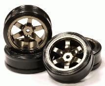 Billet Machined Alloy 6 Spoke Wheel +3 Offset + Drift H-Tire (4) Set (O.D.=64mm)
