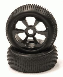 Mounted 1/8 Buggy 6 Spoke 17mm Wheel+Pattern Micro-Spike Tire Set (2)