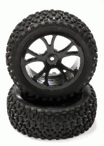 Pre-Mounted 1/10 Buggy 10 Spoke Front 31mm All Terrain Q4031 12mm Hex (OD 87mm)