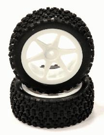Pre-Mounted 1/10 Buggy 6 Spoke Front 32mm All Terrain Q4018 12mm Hex (O.D. 87mm)