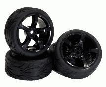 Type RJ Complete Wheel & Tire Set (4) for 1/10 Touring Car