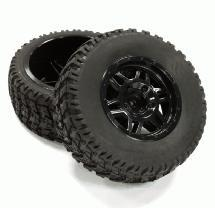 All Terrain HX Tires+D6 Spoke Wheels(2)12mm Hex for 1/10 Short Course (OD=105mm)