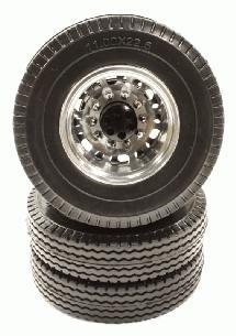 Machined Alloy Rear Dually Wheel 12R & Tire for Tamiya 1/14 Scale Tractor Trucks