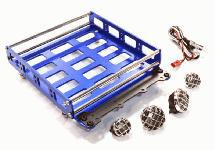 Realistic 1/10 Scale Alloy Luggage Tray 132x115x29mm with 4 LED Spot Light Set