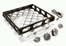 Realistic 1/10 Scale Alloy Luggage Tray 167x134x29mm with 4 LED Spot Light Set