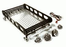 Realistic 1/10 Scale Alloy Luggage Tray 188x110x38mm with 4 LED Spot Light Set