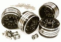 2.2x1.5-in. Machined High Mass Wheel (4) w/14mm Offset Hubs for 1/10 Crawler