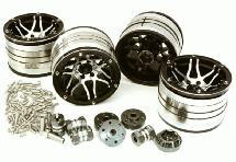 2.2x1.75-in. Machined High Mass Wheel (4) w/14mm Offset Hubs for 1/10 Crawler