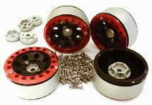 Billet Machined 1.9 8H Spoke Wheels w/ 0 & +3 Adapters for Traxxas TRX-4