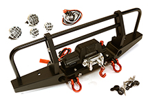 Realistic Front Alloy Bumper w/ Winch & LED for Traxxas TRX-4 w/ 43mm Mount