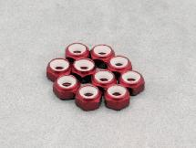 Thinness Alu. 3mm Lock Nut Thin (Red 10Pcs)