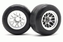 RIDE Pre-Glued Front F1 63mm Rubber Tires R-1 High Grip w/ Inserts for F-104