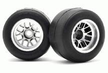 RIDE Pre-Glued Rear F1 63mm Rubber Tires R-1 High Grip w/ Inserts for F-104