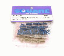 Square R/C Titanium and Blue Aluminum Hex Screw Set (for Tamiya TT-02)