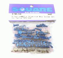 Square R/C Titanium & Blue Aluminum Hex Screw Set (Tamiya TRF-419XR)