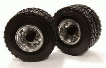 Machined Alloy T5 Rear Dually Wheel & XC Tire for Tamiya 1/14 Scale Trucks
