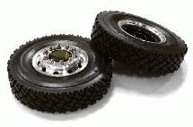 Machined Alloy T6 Front Wheel & XC Tire Set for Tamiya 1/14 Scale Tractor Trucks