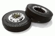 Machined Alloy T6 Front Wheel & XE Tire Set for Tamiya 1/14 Scale Tractor Trucks